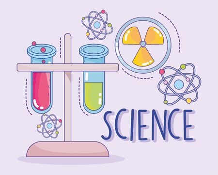 science medicine nuclear chemistry flaks and atom research laboratory vector illustration