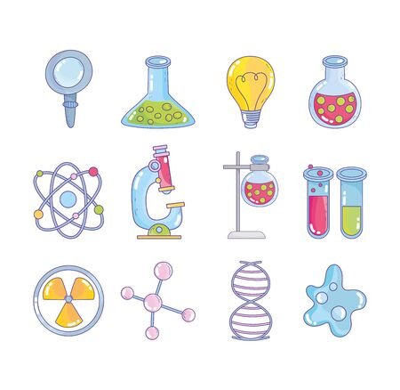 science research laboratory magnifier flask atom molecule dna genetic nuclear bacteria icons vector illustration