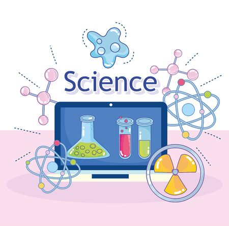 science laptop device discovery flask molecule nuclear research laboratory vector illustration