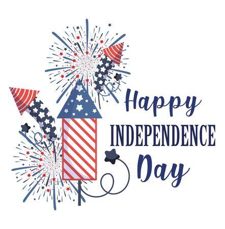 Fireworks design, Independence day happy 4th july and usa theme Vector illustration Vektoros illusztráció