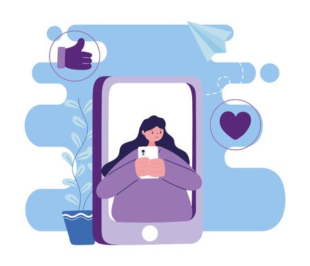 Woman with smartphone chatting design, Message chat and communication theme Vector illustration