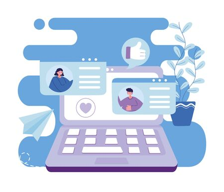 Woman and man with laptop chatting design, Message chat and communication theme Vector illustration Vectores