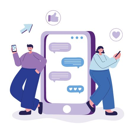 Woman and man with smartphone chatting design, Message chat and communication theme Vector illustration Vectores