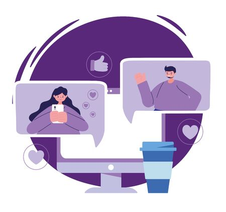 Woman and man with computer and smartphone chatting design, Message chat and communication theme Vector illustration
