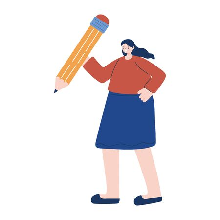 Woman with pencil design, Tool write office object instrument equipment draw art and learn theme Vector illustration