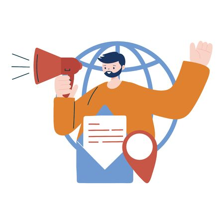 Man with megaphone envelope and gps mark design, Digital marketing and ecommerce theme Vector illustration Vettoriali