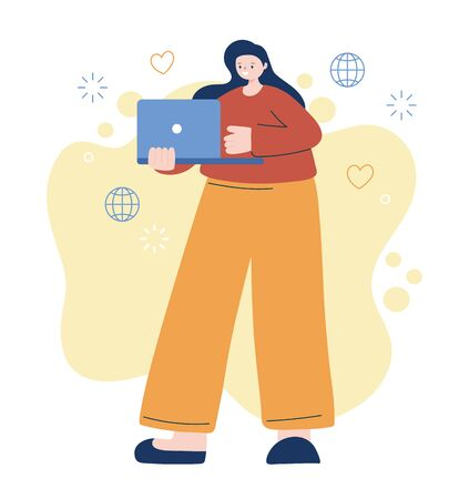Woman with laptop design, Digital technology and communication theme Vector illustration