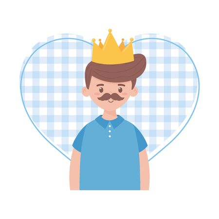 Father man with crown design, Fathers day celebration and love theme Vector illustration