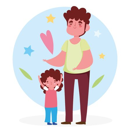Father and daughter with heart and stars design, Family relationship and generation theme Vector illustration Vectores