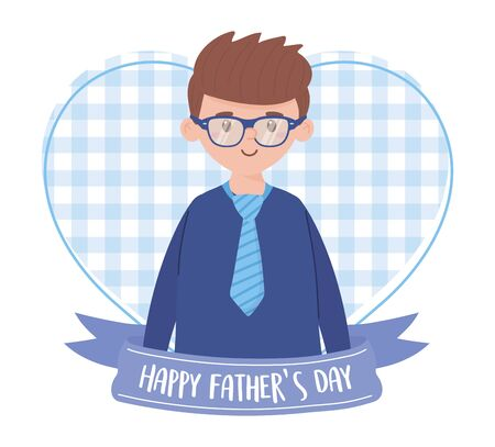Father man with ribbon design, Fathers day celebration and love theme Vector illustration Vectores