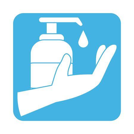 covid 19 coronavirus prevention dispenser liquid soap in hand block style icon