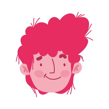 young man face male character cartoom isolated design 向量圖像