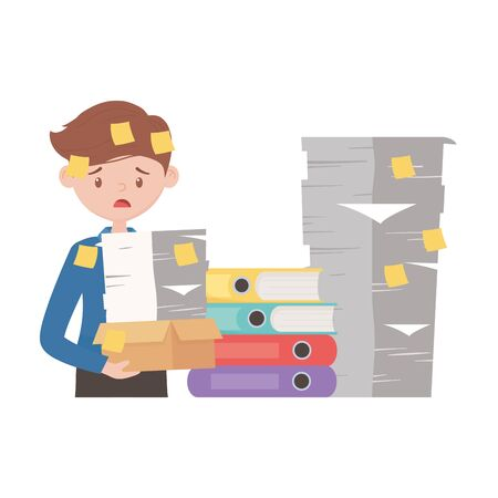 stress at work, worried employee with pile of documents and many stick notes Иллюстрация