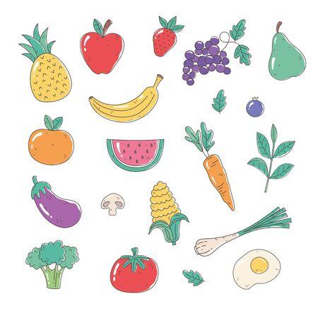 healthy food nutrition organic fruits vegetables tomato apple pineapple carrot onion egg eggplant broccoli