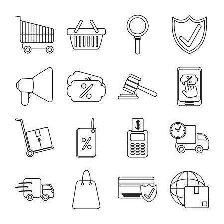 online shopping mobile marketing and e-commerce icons set line style vector illustration Ilustracje wektorowe