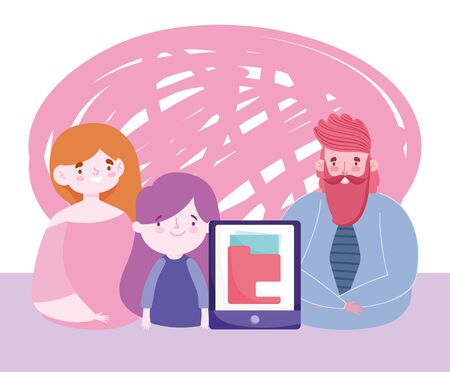 online education teacher mom and daughter student smartphone homework Vettoriali