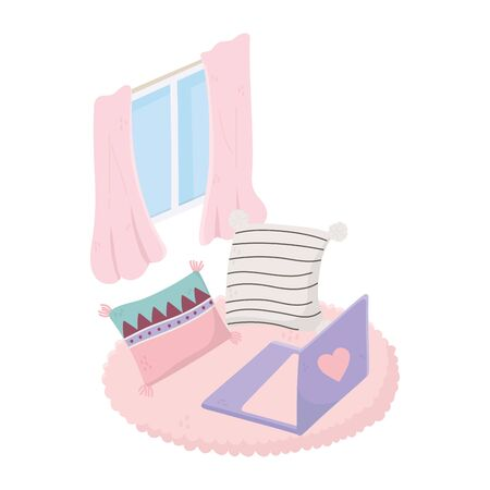 sweet home laptop cushions on carpet and window
