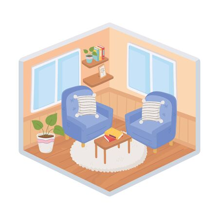 sweet home armchairs cushions table books decoration isometric isolated design