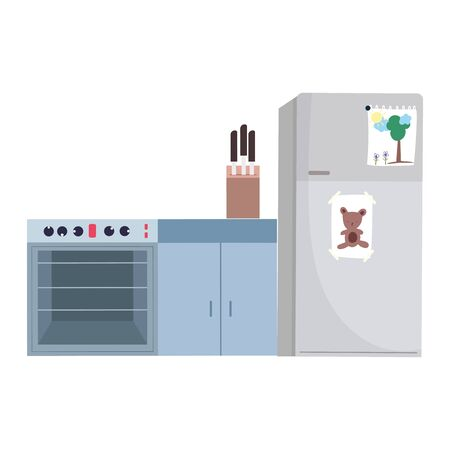 cooking stove fridge knives appliance and furniture isolated icon design