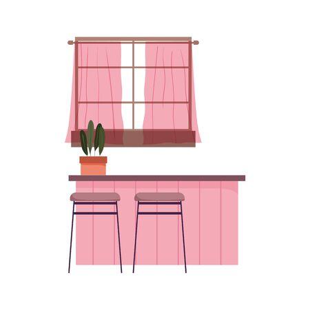 kitchen interior knives counter furniture chairs window design