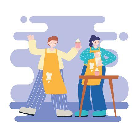 people activities, happy couple cooking sweet cupcakes cartoon