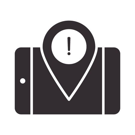 alert icon, smartphone pointer location warning, attention danger exclamation mark precaution information silhouette style design vector illustration
