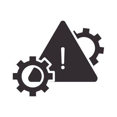 alert icon, settings warning sign, attention danger exclamation mark precaution information silhouette style design vector illustration