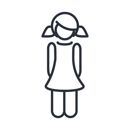 little girl daughter with pony tails hair, family day, icon in outline style vector illustration