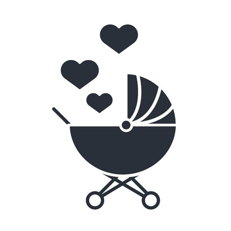 baby pram with love hearts family day, icon in silhouette style vector illustration Vettoriali