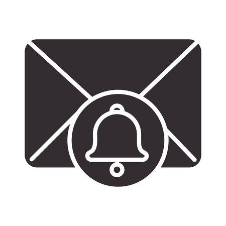 alert icon, email receiving alarm, attention danger exclamation mark precaution silhouette style design Ilustración de vector