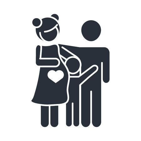 pregnant woman father and little son family day, icon in silhouette style vector illustration