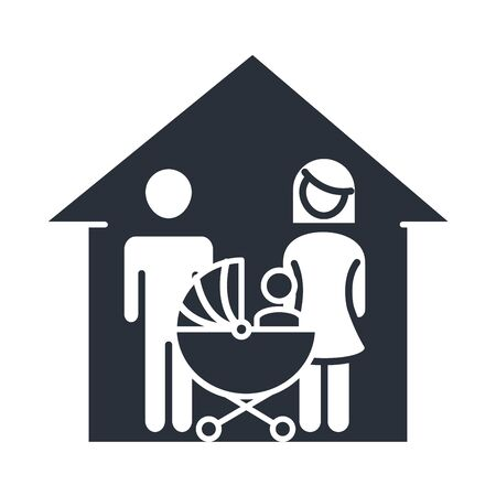 father mother and baby in pram house family day, icon in silhouette style vector illustration
