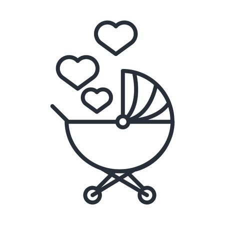 baby pram with love hearts family day, icon in outline style vector illustration Vettoriali