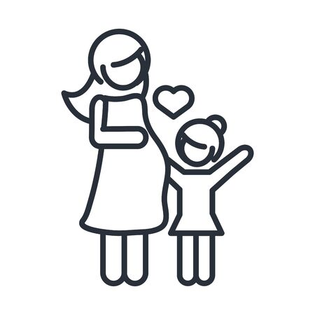 pregnant woman and daughter character family day, icon in outline style vector illustration