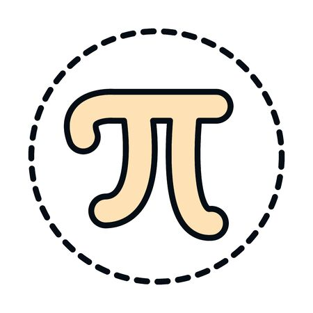 math education school science pi symbol line and fill style icon vector illustration