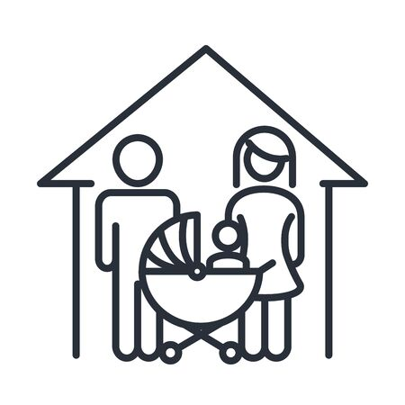 father mother and baby in pram house family day, icon in outline style vector illustration