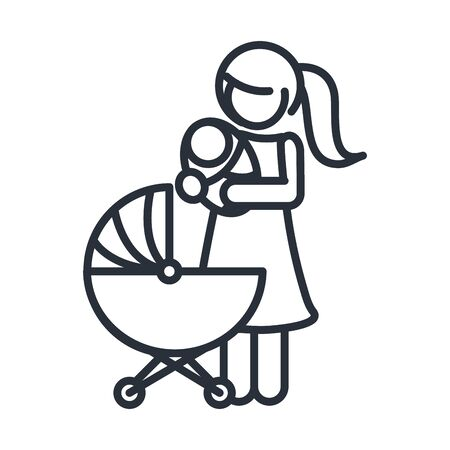 mother with baby in pram family day, icon in outline style vector illustration Vettoriali