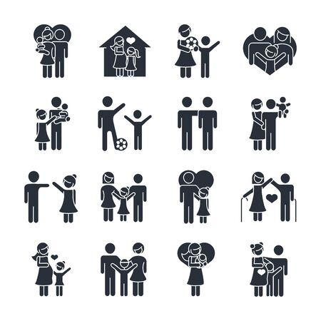 family day, father mother kids grandparents characters, set icon in silhouette style