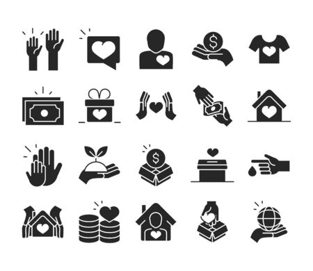 donation charity volunteer help social assistance icons collection silhouette style vector illustration