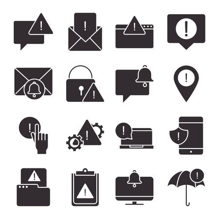 alert, attention danger exclamation mark precaution silhouette style design icons set 일러스트