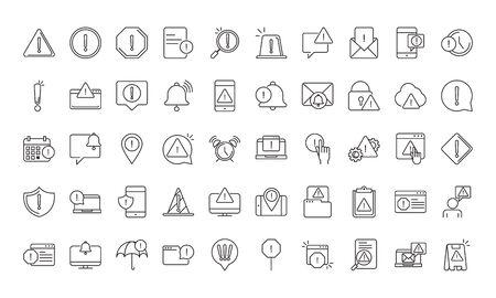 alert, attention danger exclamation mark precaution, line style design icons set