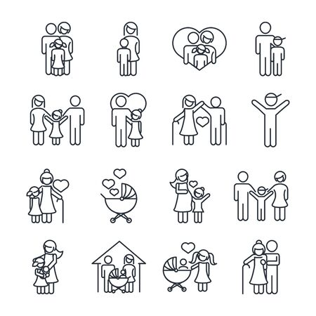 family day, father mother kids grandparents characters, set icon in outline style Vettoriali