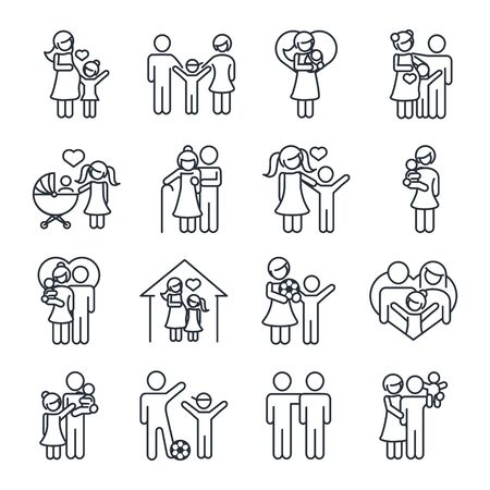 family day, father mother kids grandparents characters, set icon in outline style Illustration