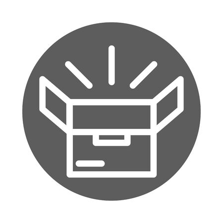 open cardboard box delivery cargo service logistic block style icon