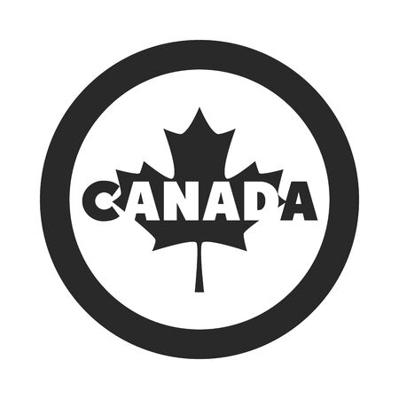 canada day, inscription maple leaf badge ornament silhouette style icon Ilustracja