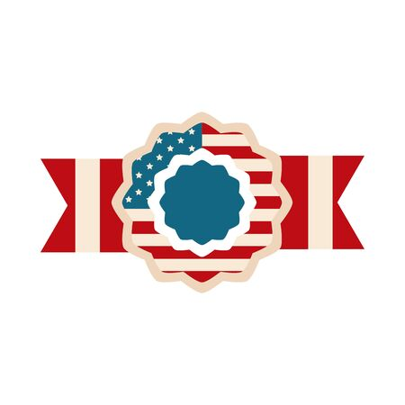 happy independence day, american flag in badge ribbon insignia design flat style icon Ilustracja
