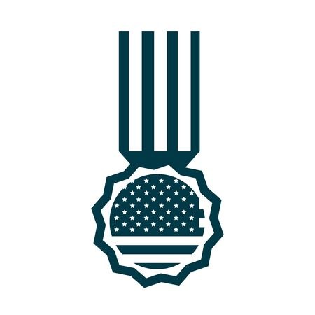 happy independence day, american flag pendant medal celebration vector illustration silhouette style icon