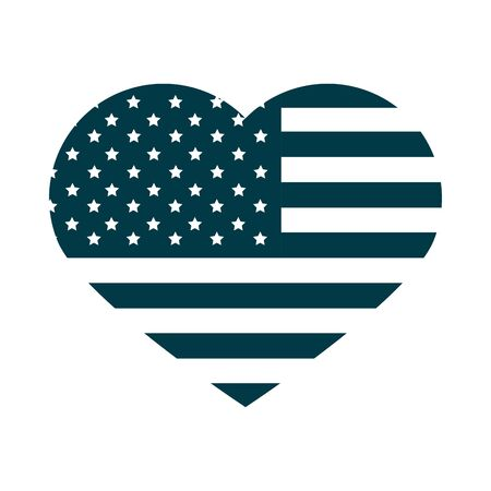 happy independence day, american flag shaped heart love nation silhouette style icon