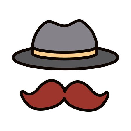 moustache and hat accessory celebration line and fill icon