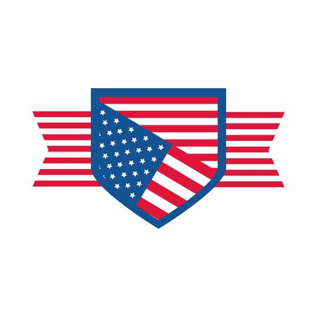 4th of july independence day, american flag shield honor celebration flat style icon